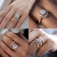 925 Silver 14K Gold White Sapphire Wedding Engagement Ring Women Jewelry Sz 6-10