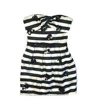 BCBGMaxAzria 0 Strapless Mini Dress Black White Stripe Sequin Short Sweetheart