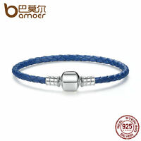 Bamoer European Genuine Blue Leather Braid Bracelet with Sterling Silver Clasp