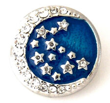 Silver Blue Rhinestone Moon Stars 20mm Interchangeable Jewelry Fits Ginger Snaps