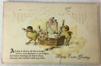 Postcard Hearty Easter Greetings Chicks Basket Embrossed Posted 1921