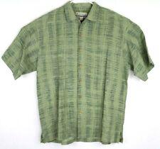 Kahala Mens Hawaiian Shirt Bamboo Floral Embossed Linen Rayon Blend Green Size L