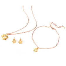 Fashion Dog Claws Foot Print Pendant Necklace Earrings Bracelet Jewelry Set 3c Gold