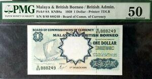 PMG 50 UNC 1959 MALAYA & BRITISH BORNEO 1 Dollars S/N-B/89 888249(+1 note)#17148