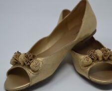 Xhilaration Peep Toe Gold Glitter Flat Three Flowers Slip On  Women's size 9.5