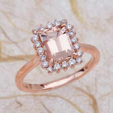 1.90ctw Emerald Cut Morganite Halo Engagement Ring in 14K Rose Gold