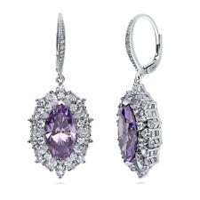 BERRICLE Silver Marquise Purple Cubic Zirconia CZ Halo Leverback Dangle Earrings