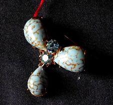 BIJOUX VINTAGE broche bleu strass porcelaine1950 @cufflink