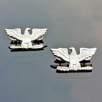 PAIR United States U.S. Army Colonel shoulder strap rank insignia Badge Pins
