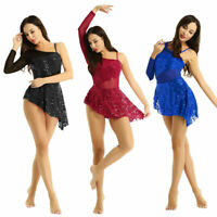 Women's Contemporary Ballet Dance Lyrical Leotard Dress Sequin Long Sleeve Prom