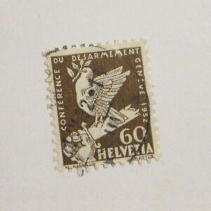 Switzerland #214  Θ used bird on broken sword stamp,  fine + 102 card superfleas