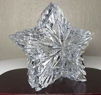 Vintage 24% Lead Crystal Star Lidded Trinket Dish Heavy Original Sticker MINT