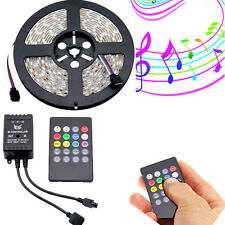 MUSIC CONTROLLED KITS 5M LED RGB 5050 Strip Lights Flexible Waterproof decor
