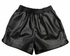 Womens Black High Waisted Faux Leather Shorts Casual Size 6 8 10 12 14 -sh18
