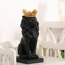 Resin Black Lion with Gold Crown Statue Handicraft Home Sculpture Decoration