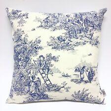 Handmade TOILE DE JOUY BLUE 100% Cotton Cushion Cover Various sizes