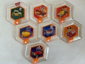 Disney Infinity Power Disk TOY Lot of 7- Mickey, Mulan, Cruella, Sam- 1.0 2