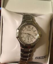 Seiko premier Women's Silver Steel Bracelet & Case Hardlex Quartz Watch SRKZ67