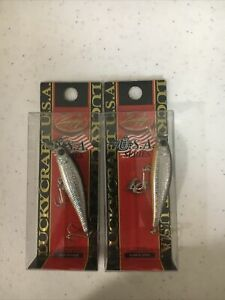 lot of 2 small lucky craft usa fishing lures pointer 48 orange belly silver shad