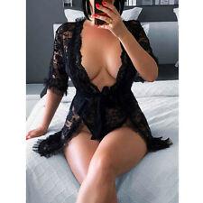 Transparentes Sexy Dessous Nachtwäsche schwarze Spitze mit String Tanga