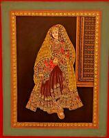 Hand Painted Gold Work Maharaja Maharani Pair Portrait Miniature Painting Fine