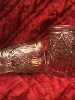 VTG EAPG INDIANA GLASS DAISY & BUTTON NARCISSUS FLOWER RUBY GOLD 8 oz. TUMBLERS