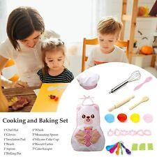 24pc Set Children's Cartoon Bear Pink Apron Hat Baking tools oven glove play kid
