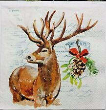 DEER SCRIPT WINTER 2 individual LUNCH SIZE paper napkins for decoupage 3-ply