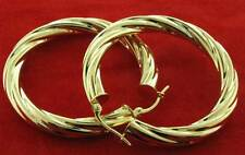 9CT YELLOW GOLD 38X5MM ROUND TWISTED TUBE CABLE HOOP  CREOLE EARRINGS GIFT BOX