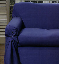 SPECIAL - NAVY Sofa / Couch Cover With Bow 1 - 2 SEATER