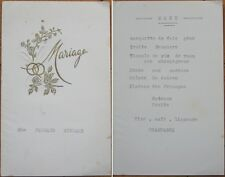1950 French Wedding Menu: Barquette Foie Gras/Champagne