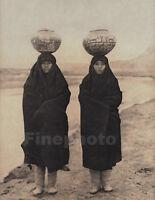 1900/72 Vintage EDWARD CURTIS North American Indian Zuni Girls Pottery Photo Art