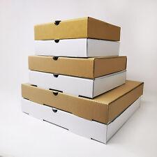 More details for takeaway pizza boxes - plain kraft/white foldover e-flute design - 7'' 9'' 12''