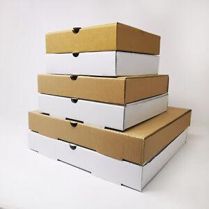 Takeaway Pizza Boxes - Plain Kraft/White Foldover E-Flute Design - 7'' 9'' 12''
