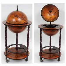 NEW Nautical World Globe Hidden Wood Bar Table Pub Cart Wheels Office Decor Gift