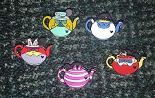 DISNEY PIN HIDDEN MICKEY TEAPOTS CHESHIRE MAD HATTER ALICE COMPLETE PINS SET/LOT