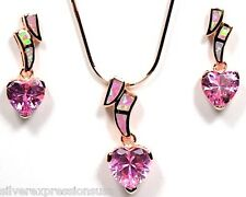Rose Gold 925 Silver Earrings Pendant Necklace Set Heart Topaz & Pink Fire Opal