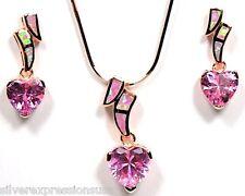 Rose Gold 925 Silver Earrings Pendant Necklace Set Heart Topaz & Pink Fire Opal