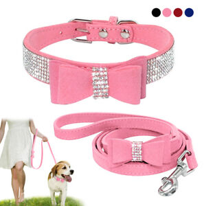 Rhinestones Dog Collar & Leads Suede Bowtie for Doggie Puppy Cat Pink Blue Black