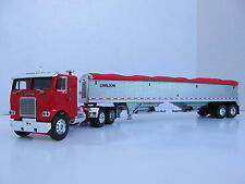 DCP 1/64 SCALE WHITE FREIGHTLINER CABOVER RED W WILSON GRAIN TR PEWTER/RED TARP