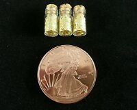 1 Ounce .999 Copper Walking Liberty Rounds +3 Jars Gold Flakes