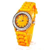 Armbanduhr Quarz Damen mit Glitzersteinen Analog Sportuhr Orange Silikon Armband