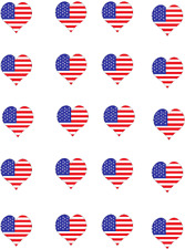 US Flag Heart Waterslide Nail Decals/ Nail Art
