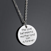 Family Necklace Pendant Gift The Love Between Mother and Son Love Silver Jewelry