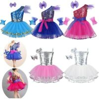 Girls Kids Ballet Jazz Dancewear Costume Sparkly Dance Dress Modern Shiny Outfit