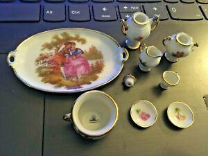 Vintage Victorian MINIATURE 9 PIECE LIMOGES Floral Gold Rim China Tea Set NICE!