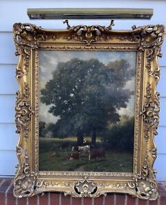 Antique 19th Magnificently Gilt Framed Oil Painting Cows signed G Wintz French