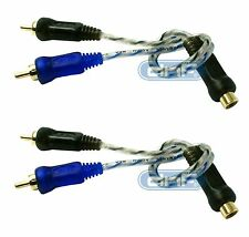 """2 Pack 6"""" 100% Copper RCA Audio Cable """"Y"""" Adapter Splitter 1 Female 2 Male"""