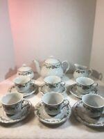 Ciera Fine China White Swirl 17Pc. Tea Set with Purple Roses and Gold Edge