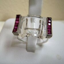 EXQUISITE STATEMENT FRENCH LUCITE, RUBY & 14K WHITE GOLD GEOMETRIC RING